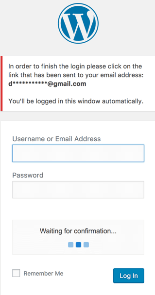 Showing WordPress login screen which includes an additional step for email verification