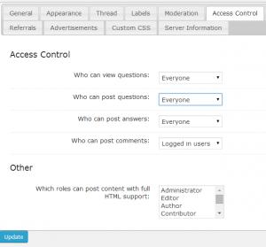 Access Restriction settings on cm answers wordpress forum plugin