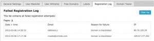 Email Registration Blacklist Plugin Failed Registration Log