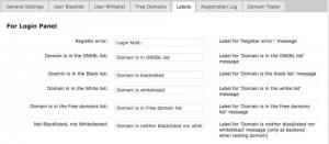 Email Registration Blacklist Plugin Labels