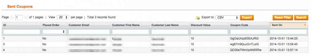 Product review extension for Magento m grid of sent notifications